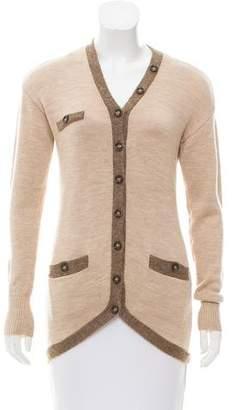 Magaschoni Rib Knit Wool Cardigan