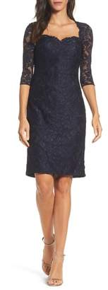 La Femme Sweetheart Lace Sheath Dress