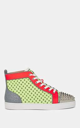 Christian Louboutin Men's Lou Spiked Multi-Material Sneakers