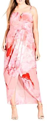 City Chic Girly Rose Strapless Maxi Dress