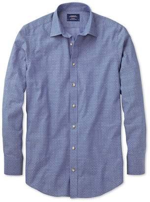 Charles Tyrwhitt Slim Fit Blue and Purple Spot Print Cotton Casual Shirt Single Cuff Size Small