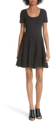 Rebecca Taylor Textured Stretch Cotton Fit & Flare Dress