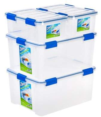 Iris USA Ziploc® WeatherShield 16 qt. and 60 qt. Storage Boxes in Clear (Set of 4)
