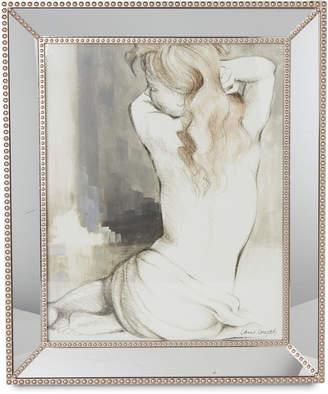 N. Elico Ltd Beaded Mirror Framed Woman Sketch Wall Art