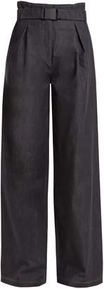 No.21 NO. 21 High-rise wide-leg cotton-blend trousers