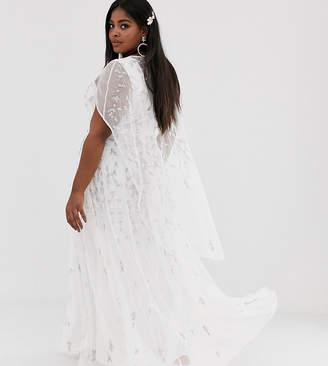 Asos Edition EDITION Curve embellished cape wedding dress