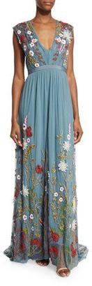 Alice + Olivia Merrill Floral-Embroidered Sleeveless Maxi Dress $1,298 thestylecure.com
