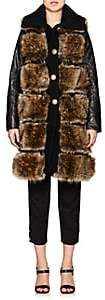 Mayle Maison Women's Faux-Fur & Faux-Leather Vest - Dk. brown