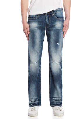 Buffalo David Bitton Destroyed Blue Six-X Slim Straight Jeans