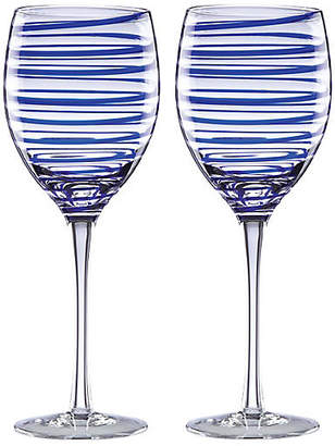 Kate Spade Set of 2 Charlotte Street Wineglasses - Clear/Blue