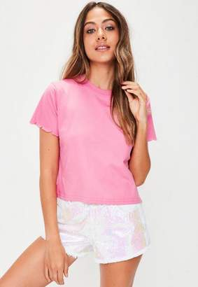 Missguided Pink Scallop Trim Short Sleeve T-Shirt