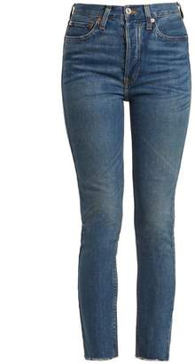 RE/DONE High Rise Raw Hem Cropped Jeans - Womens - Denim
