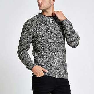 River Island Grey knit long sleeve slim fit sweater