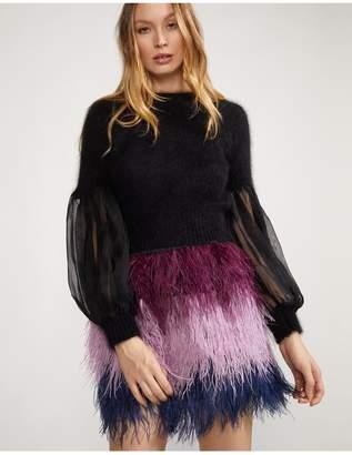 Cynthia Rowley Angora Sweater With Puff Sleeve