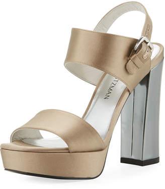 Partisan Satin Block-Heel Sandal