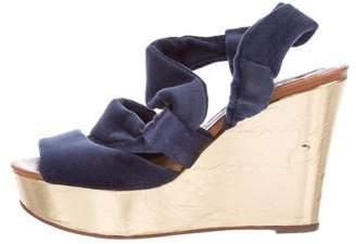 Rochas Velvet Platform Wedge Sandals
