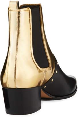 Balmain Studded Metallic Leather Ankle Boots