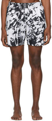 SSS World Corp Black and White Tie-Dye Swim Shorts