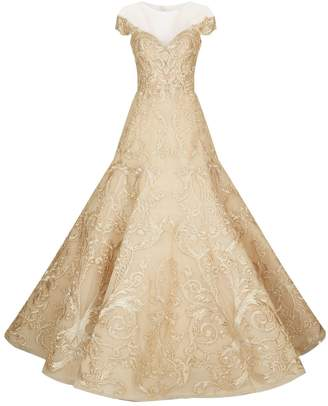 Mikael D Embellished Sweetheart Neck Gown