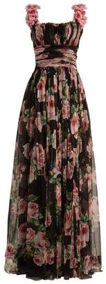Dolce & Gabbana Rose Print Silk Tulle Gown - Womens - Black Multi