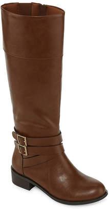 Arizona Womens Denmark Wide Calf Riding Boots Block Heel Zip