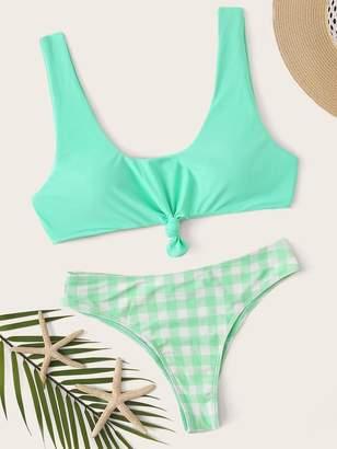 Shein Gingham Tie Front Bikini Set