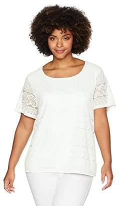 Calvin Klein Women's Plus Size Short Sleeve Lace Top