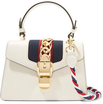 Gucci Sylvie Mini Chain-embellished Leather Shoulder Bag - White