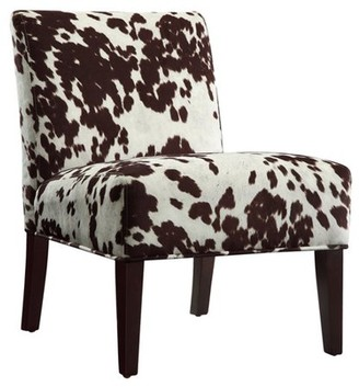 Weston Home Chelsea Lane Maxfield Brown Cowhide Print Lounger Chair, Brown Cowhide