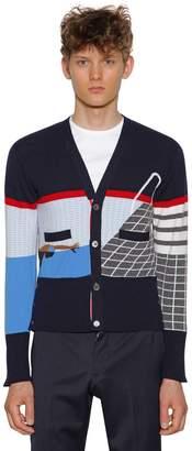 Thom Browne Intarsia Stripe Cashmere Cardigan