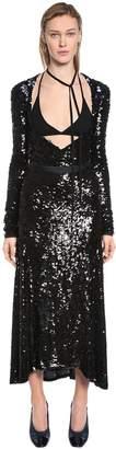 Nina Ricci Deep Neckline Stretch Sequined Dress