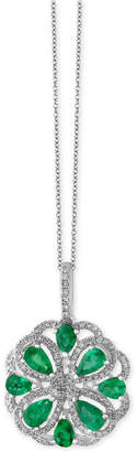 Effy Brasilica by Emerald (1-3/8 ct. t.w.) and Diamond (3/8 ct. t.w.) Flower Pendant Necklace in 14k White Gold, Created for Macy's