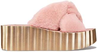 Tory Burch SCALLOP FAUX FUR WEDGE SLIDE