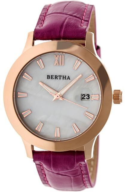 Bertha Eden BTHBR6507 Women's Rose Gold Stainless Steel and Pink Leather Watch