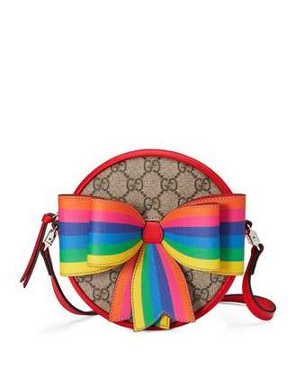 Gucci Girls' Circle GG Supreme Crossbody Bag w/ Rainbow Bow
