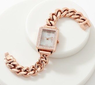 Diamonique Curb Link Rectangular Face Watch, Stainless Steel