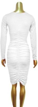 daydayup Slim Women Round Neck Comfortable Abdominal Hollow Out Long Sleeve Evening Party Crinkle Sexy Dress For Daliy Wear White, White Slim Women Round Neck Long Sleeve Evening Party Crinkle Sexy Dress