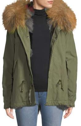 Mr & Mrs Italy Mr&Mrs Italy Army Shell Mini Parka with Multi Fur Fox