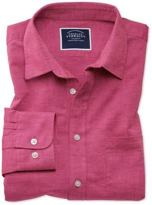 Charles Tyrwhitt Classic Fit Bright Pink Cotton Linen Cotton Linen Mix Casual Shirt Single Cuff Size XXXL