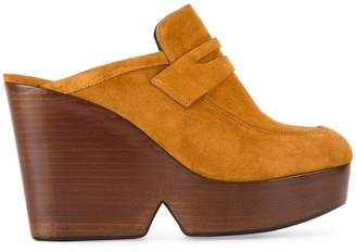 Clergerie Tan Suede Damor 110 wedge mules