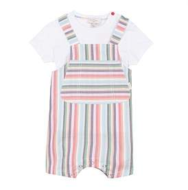 Paul Smith Striped Dungarees And Tee Set(12 Months-3 Years))