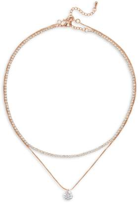 Cezanne Rose Goldtone Crystal Necklace