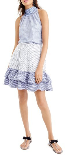 Women's J.crew Cocktail Stripe Ruffle Skirt