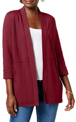 Karen Scott Three-Quarter-Sleeve Cardigan