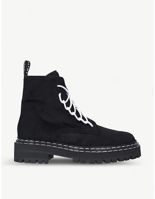 Proenza Schouler Lace-up pony hair combat boots