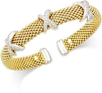 Macy's Diamond Mesh X Bangel Bracelet (1/2 ct. t.w.) in 14k Gold-Plated Sterling Silver