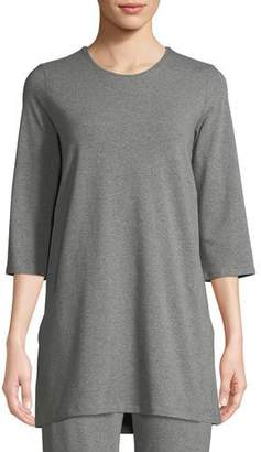 Eileen Fisher 3/4-Sleeve Heathered Jersey Tunic, Petite