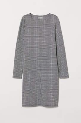 H&M Long-sleeved Jersey Dress - Gray