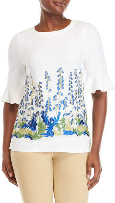 Joseph A Short Sleeve Floral Embroidered Tee