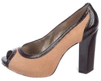 Diane von Furstenberg Ponyhair Peep-Toe Pumps